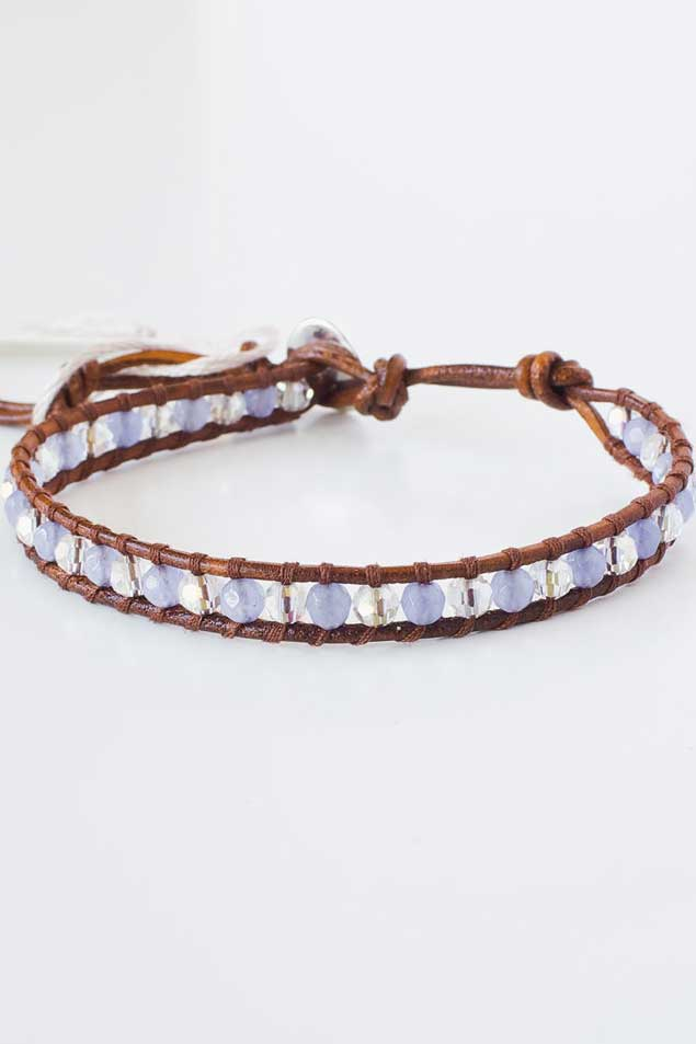 Aquamarine Leather Bracelet