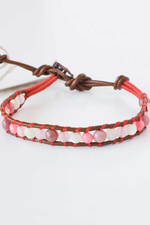 Salmon Pink and Leather Bracelet | Talulah Lee