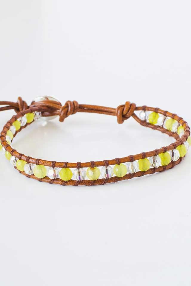Citrine and Leather Bracelet | Talulah Lee