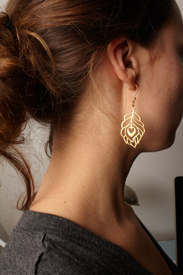 X Large Peacock Earrings - Gold Vermeil