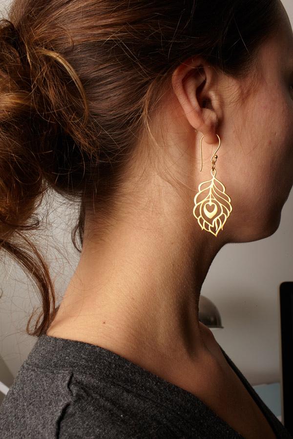X Large Peacock Earrings - Gold Vermeil