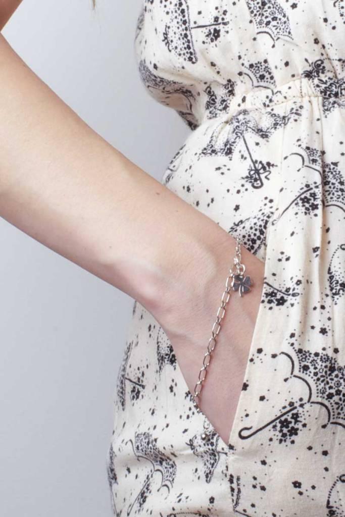 Sterling Silver Clover Charm Bracelet | Talulah Lee