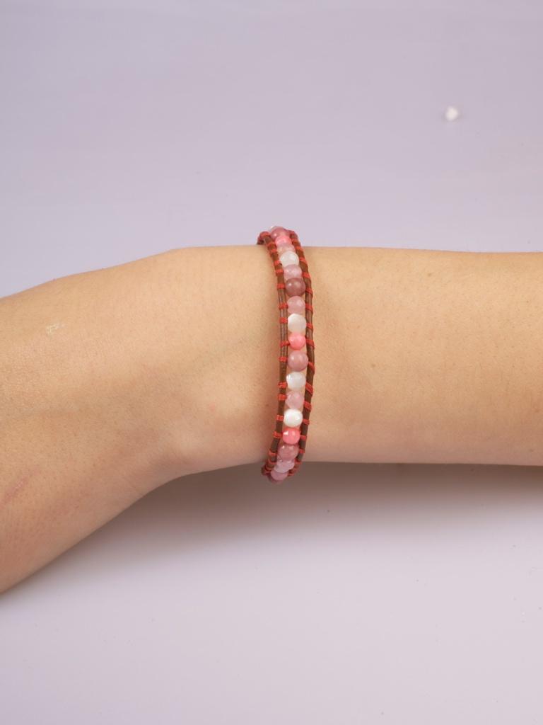 Single Wrap Rhodochrosite and Pearl Bracelet