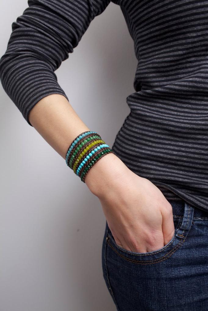 Marine Turquoise and Emerald Jade Wrap Bracelet