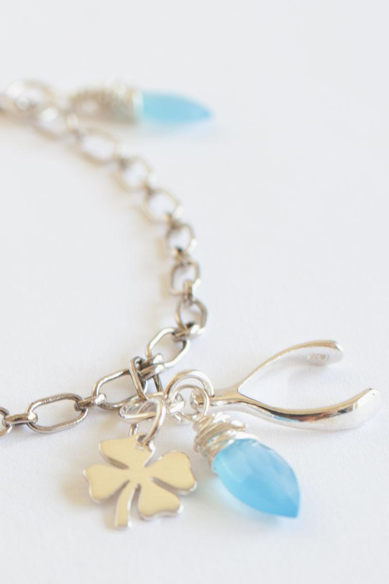Sterling Silver Wishbone and Clover Charm Bracelet | Talulah Lee