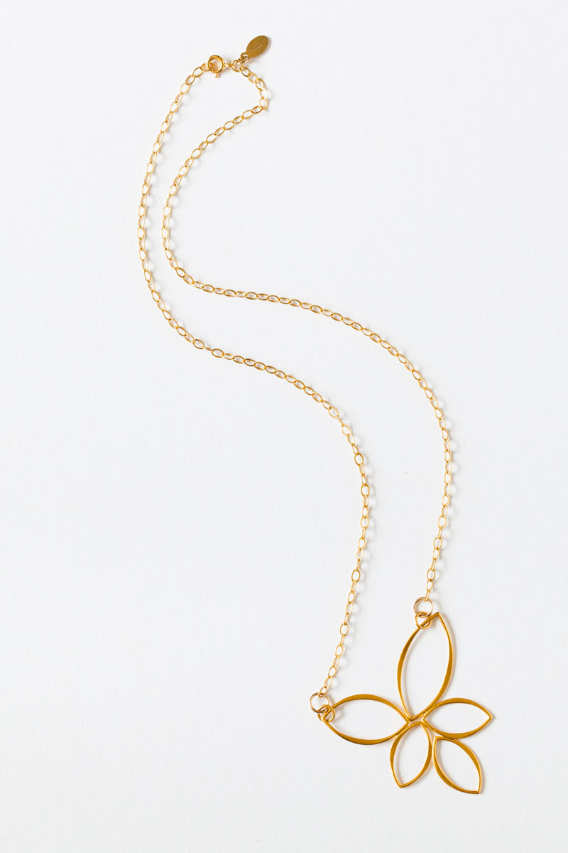 "24K Gold Vermeil ""5 Petals"" Necklace on an 18"" Gold Filled Chain"