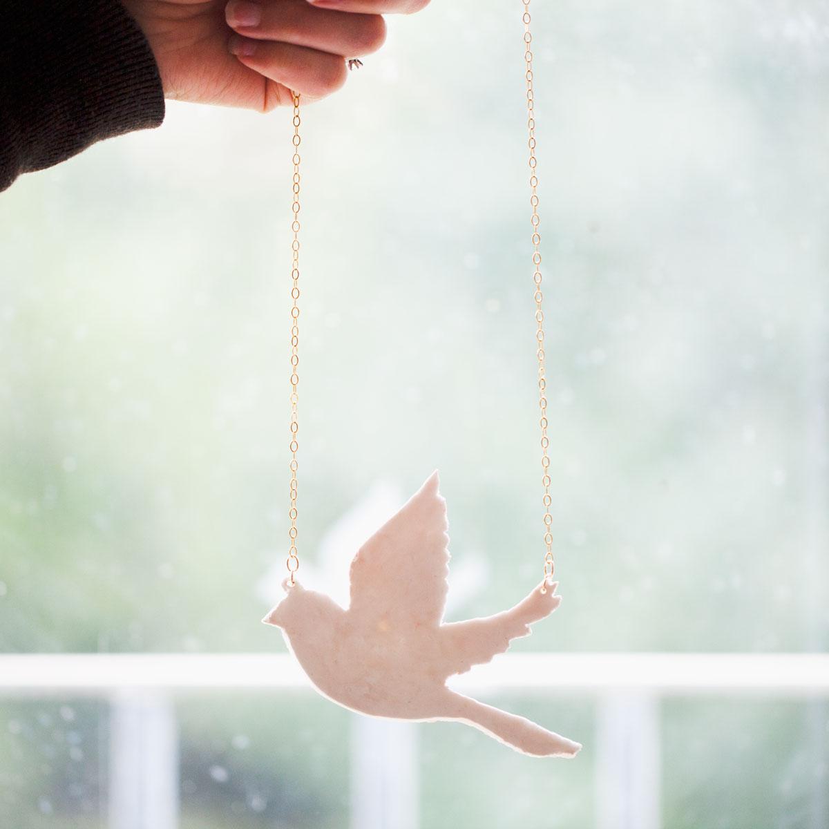 Sparrow Clay Pendant Necklace